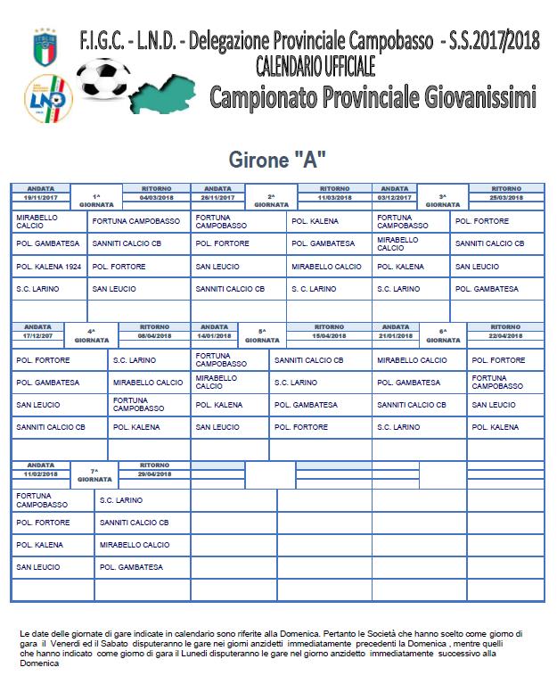 Calendario Giovanissimi Provinciali.Calendario Campionato Giovanissimi Provinciale Asd Sanniti